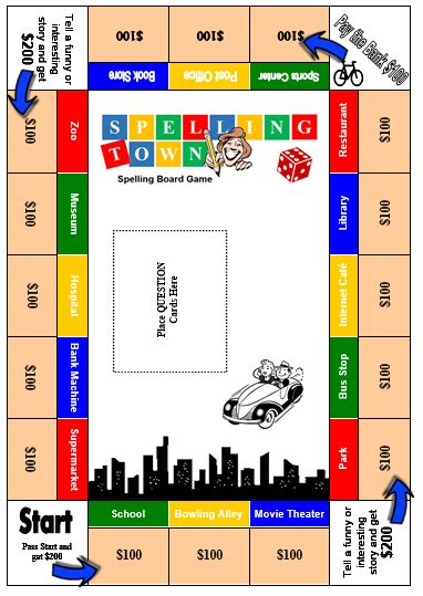 printable board games for spelling spelling town free spelling board game all things topics