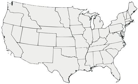 a blank map of the united states white usa map contiguous united states black and white