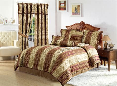 Silver And Gold Bedding Sets Vintage Stripe 11pc Jacquard Comforter Set Gold Burgundy Stripes With Curtains Ebay