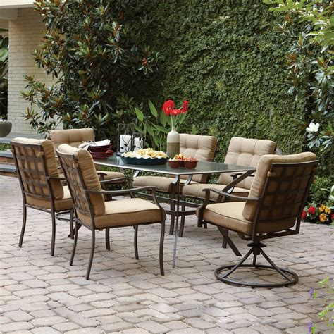 loews patio furniture lowes patio dining sets garden treasures eastmoreland brown 7 outdoor dining set lowe s canada