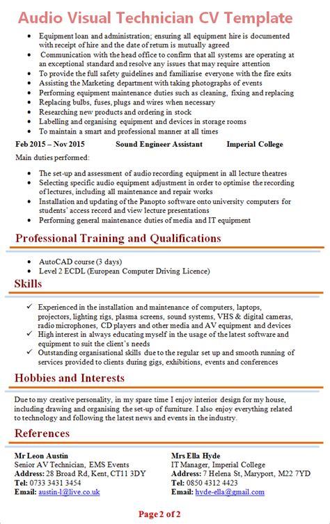 resume sles audio technician resume sle professional audio technician templates to