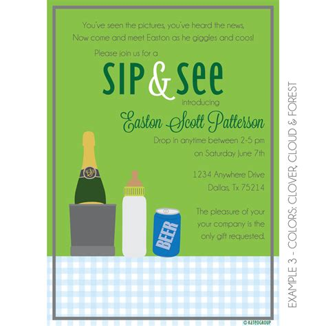 boozy sip and see invitation baby shower kateogroup