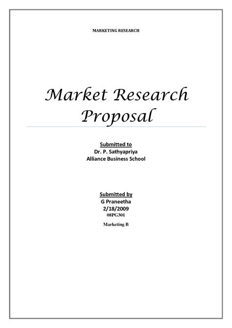 marketing research template research proposals template