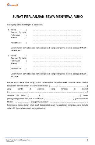 contoh surat perjanjian sewa ruko kios pdf doc lamudi