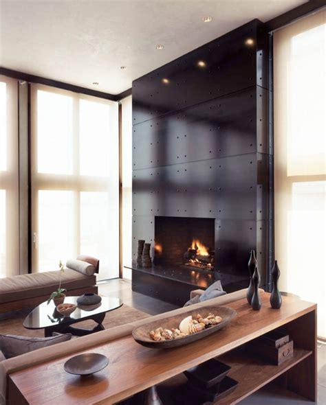 modern fireplace design ideas set in black wall