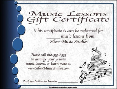 Gift Certificates   Silver Music Studios