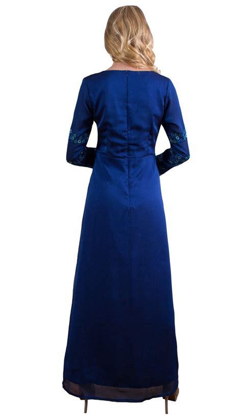 Najma Maxy royal blue formal abaya maxi dress muslim evening