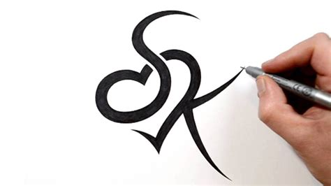 sk tattoo design combining initials s and k with a design