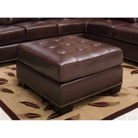 burgundy ottoman leather abbyson living winston square leather ottoman in burgundy
