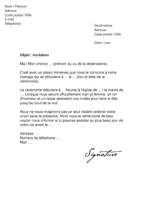 Modele De Lettre D Invitation lettre d invitation mariage mod 232 le de lettre
