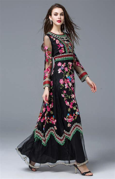 Tartan Maxi Ld 110 s sleeve gauze retro noble floral embroidery dress clothesdeals net