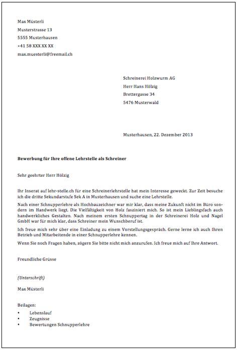 Lebenslauf Vorlage Schweiz Schnupperlehre Begleitschreiben Lehr Stelle Ch