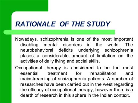 rationale meaning in thesis study disorganized schizophrenia