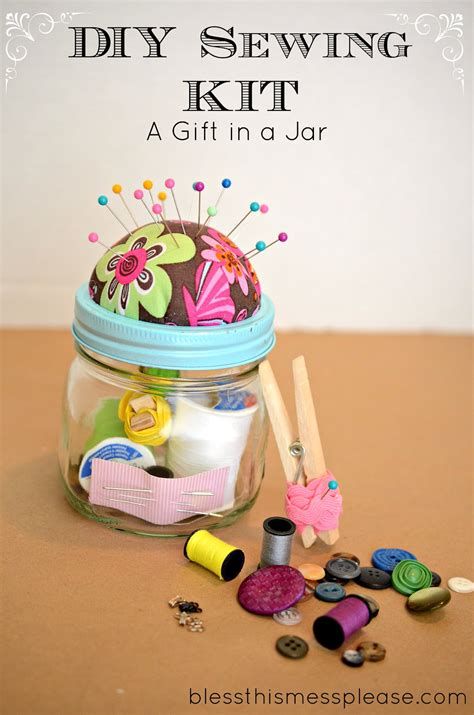 Diy Handmade Gifts - diy sewing kit gift in a jar bless this mess