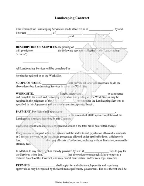 Landscaping Contract Template Lawn Maintenance Contract Maintenance Contract Agreement Landscaping Contract Template Pdf