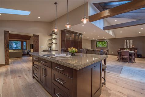 vaulted ceiling open floor plans open concept floor plan with vaulted ceilings rustic kitchen vancouver by my house