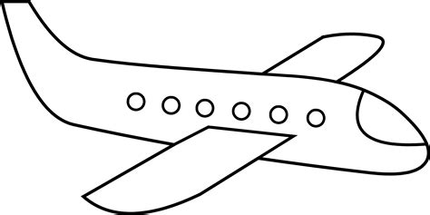 coloring page airplane outline cute simple airplane line art free clip art