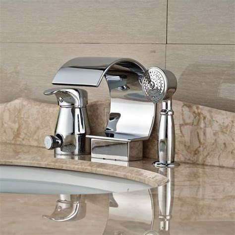 bathroom faucet with sprayer chrome polished brass waterfall spout bathroom sink faucet pull out sprayer in basin