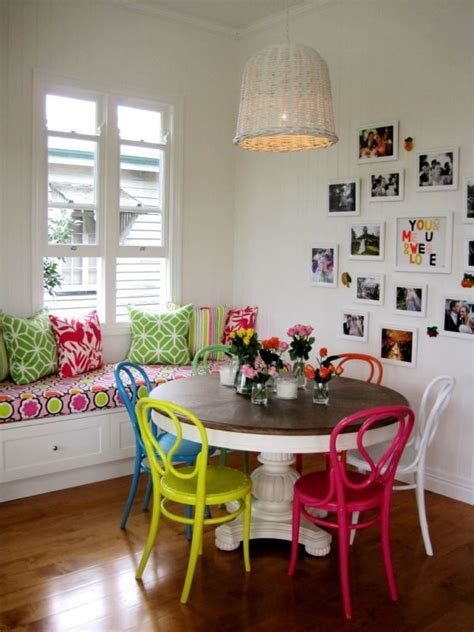 colorful kitchen table multi colored dining chairs a playful touch for the d 233 cor