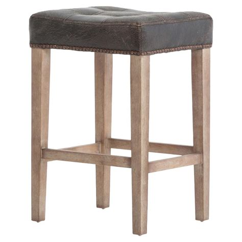 Tufted Leather Counter Stool by Milton Distressed Black Leather Tufted Counter Stool