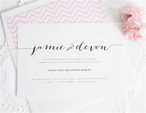 wedding invitations with individual names wedding invitations with unique script names and a pink envelope liner wedding invitations