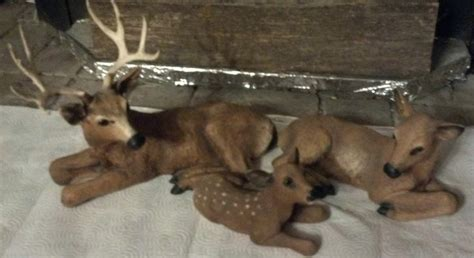 home interiors deer picture 3 piece 1985 homco deer family figurines home interior