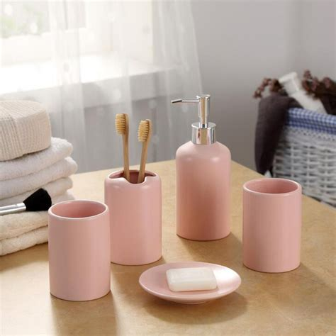 eco friendly bathroom accessories europe 5pcs pink ceramic toothbrush holder cup soap dish