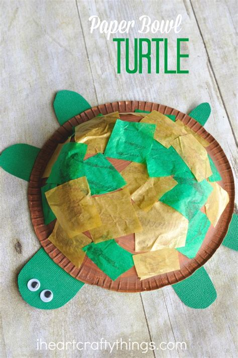 How To Make A Paper Tortoise - paper bowl turtle craft for i crafty things
