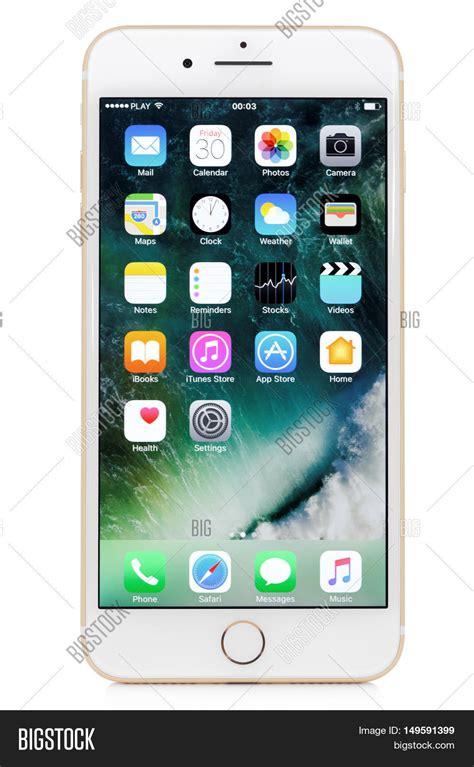 koszalin poland september 30 2016 golden iphone 7 plus on white background device is
