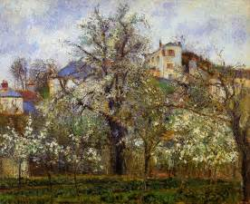 the vegetable garden with trees in blossom spring
