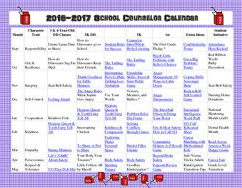 school counselor calendar newsletter ideas character trait and counseling on