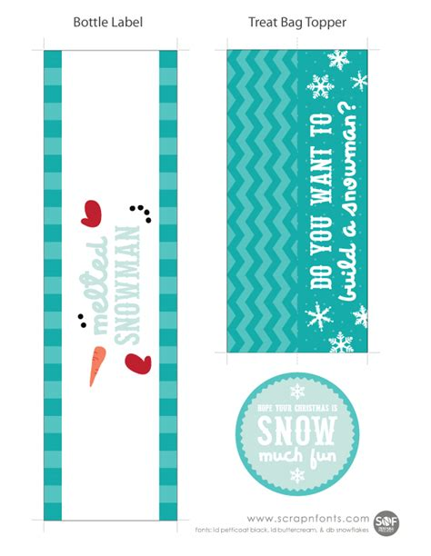 Label Snowman fontaholic freebie friday snowman treat labels