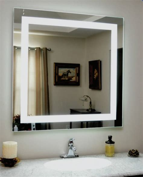 mirror with light border backlit square bathroom mirror with led light border 76cm