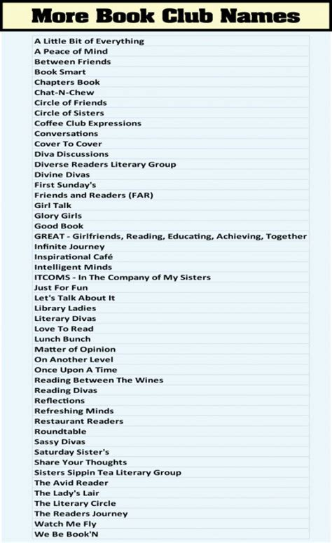 theme names for nightclubs book club names