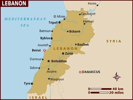 middle east map beirut map of lebanon
