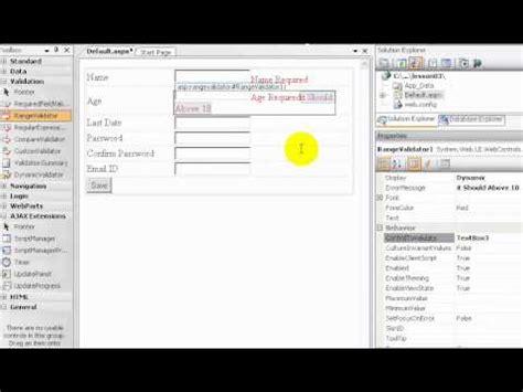 tutorial asp net c sharp asp net c sharp tutorial in tamil part 7 validation