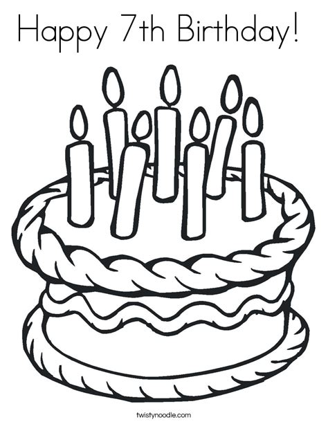 Happy 7th Birthday Card Template by Happy 7th Birthday Coloring Page Twisty Noodle
