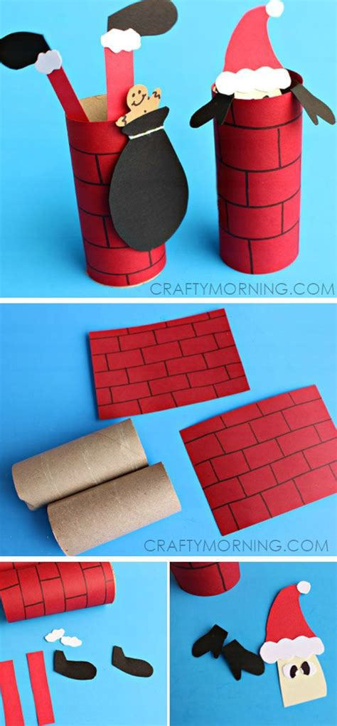 Chimney Paper Roll - santa going a toilet paper roll chimney craft