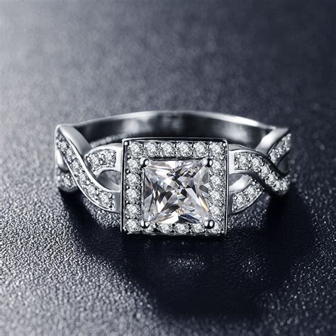2016 unique design quality rings platinum plated aaa cubic