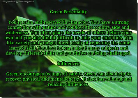 meaning of color green personality color green dreamingincmyk