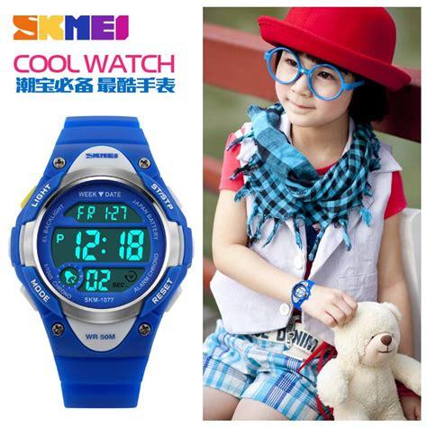 Jam Tangan Anak Skmei 1077 Original Water Resistant 50m Black Jam skmei jam tangan anak dg1077 black white