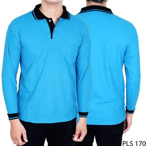 Kaos Polos Biru Tosca M kaos kerah lengan panjang lacost pe biru turkis kerah hitam pls 170 gudang fashion