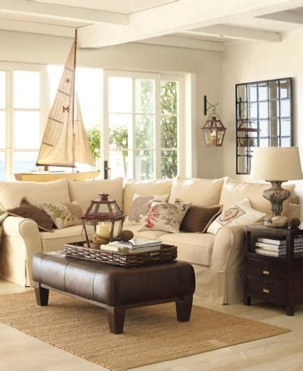 coastal living room with neutral sofas and brown chaise falling for brown decor tuvalu home
