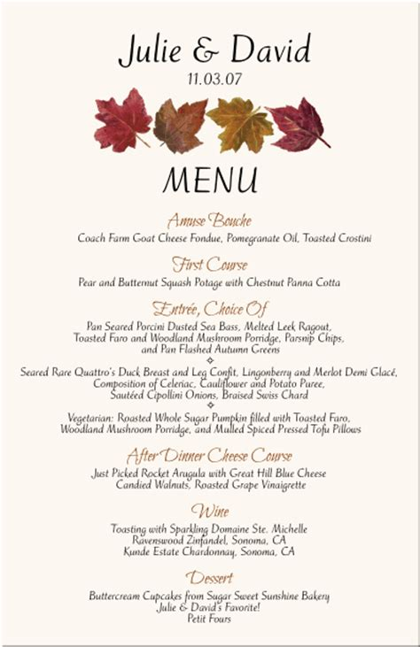 fall wedding menu cards autumn theme wedding menu cards