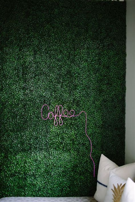 artificial boxwood accent wall  diy neon sign diy