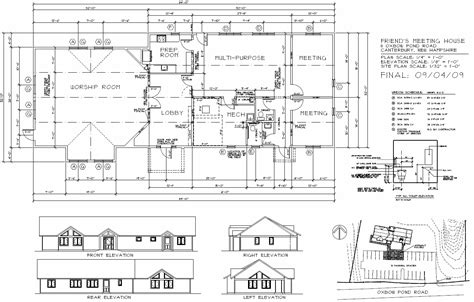 Floor Plan With Elevation by Meetinghouse Plans Concord Friends Meeting Quakers