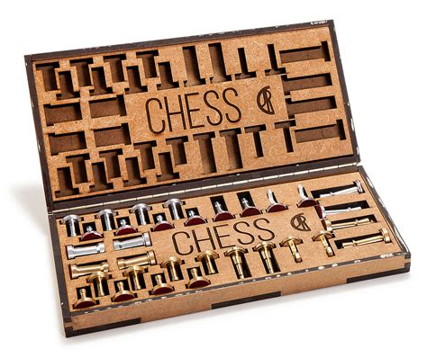 cutting yourself games chess set with brass and aluminum pieces analog games
