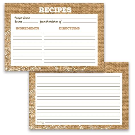 Sided Recipe Card Template by Water Resistant Lace And Burlap Recipe Cards Set Of 48