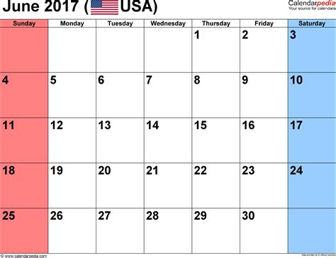 june 2017 calendars for word excel pdf