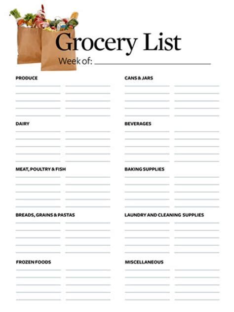 bookstore sections list 28 free printable grocery list templates kitty baby love